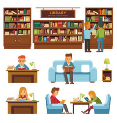 library books and people reading in bookshop vector image vector image