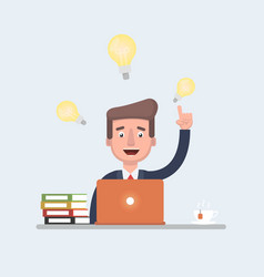 stock of a businessman having ideas while vector image vector image