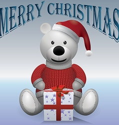 Teddy bear white in red sweater red hat with vector image vector image