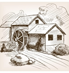 Water mill hand drawn sketch vector image