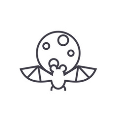 bat full moon line icon si vector image