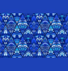 blue tile background floral pattern vector image vector image