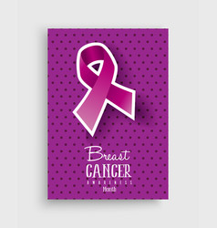 breast cancer awareness pink ribbon poster design vector image vector image