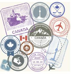 Canada travel stamps set - toronto journey vector