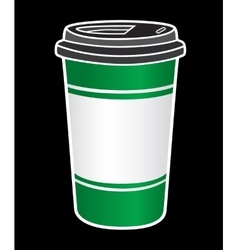 Disposable coffee cup icon with beans logo vector image vector image