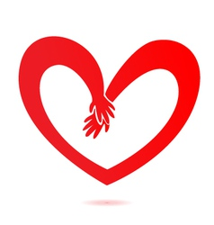 Hands and heart love vector image vector image