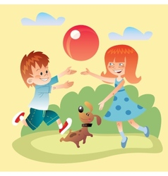 Kids and dog play outdoors in the ball vector image vector image