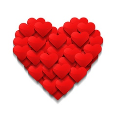 Little hearts form a big heart Valentines day vector image