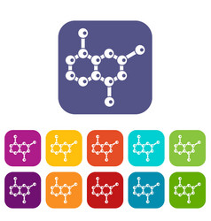 molecule icons set vector image vector image