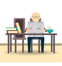 Old man reading the newspaper vector