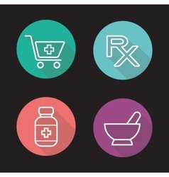 Pharmacy flat linear long shadow icons set vector image vector image