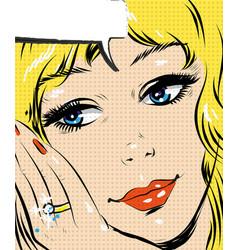 beautiful blonde smiling pop art woman comic style vector image vector image