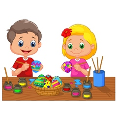 Cartoon kids painting Easter egg vector image