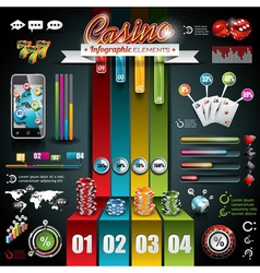 Casino infographic set with world map vector image