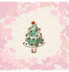 Christmas hand drawn grunge card with a xmas tree vector image vector image