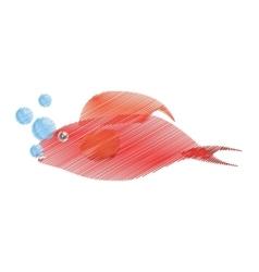 hand drawing red fish half aquatic environment vector image vector image