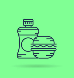 isolated linear icon bottle of water and sandwich vector image