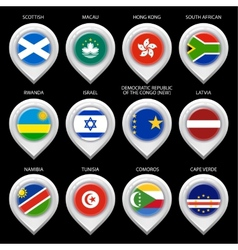 Map marker with flag-set tenth vector image