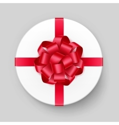 White Round Gift Box with Red Bow and Ribbon vector image vector image
