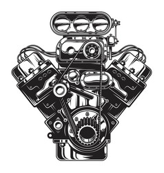 isolated monochrome of car engine vector image