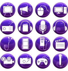 media icons on buttons vector image
