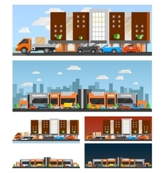 Shopping Mall And City Compositions vector image