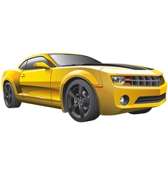 yellow muscle car vector image vector image