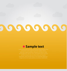 yellow sea and waves bright background vector image vector image