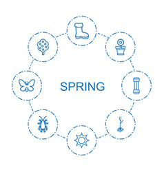 8 spring icons vector image