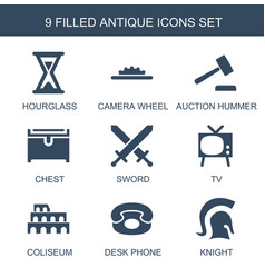 9 antique icons vector