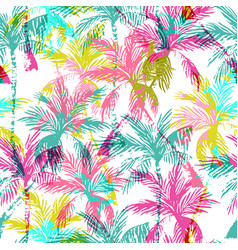 abstract colorful palm trees seamless pattern vector image
