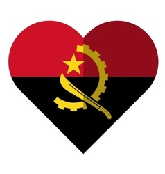 Angola flat heart flag vector