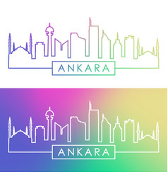 Ankara skyline colorful linear style editable vector