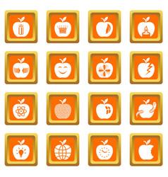 apple logo icons set orange square vector image