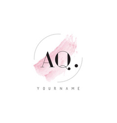 aq watercolor letter logo design with circular vector image