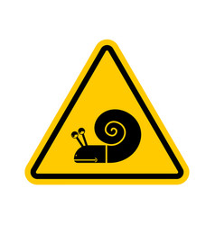 Attention snail danger yellow road sign slow vector