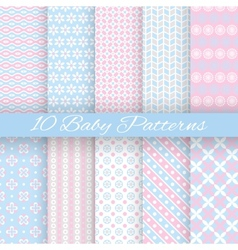 Baby pastel different seamless patterns tiling vector image