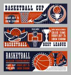 Basketball sport game banners with field and ball vector