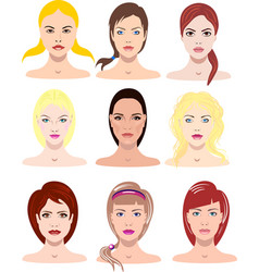 beautiful young girls with vector image