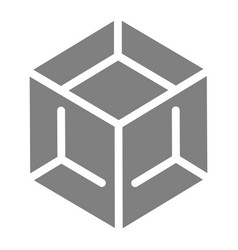 block solid icon cube vector image