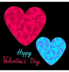 Blue and pink hearts Polygonal Valentines Day vector image