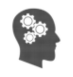 brain gears halftone dotted icon vector image