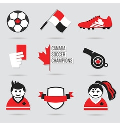 Canada soccer icon set vector image