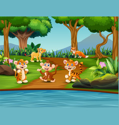 cartoon happy wild animals in a pond scene vector image
