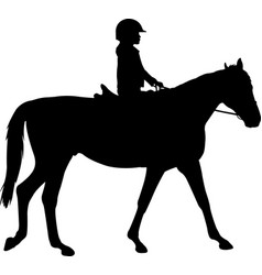 child riding horse silhouette vector image