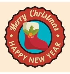 Christmas sock decoration icon vector