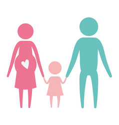 Color silhouette set pictogram parents with mother vector