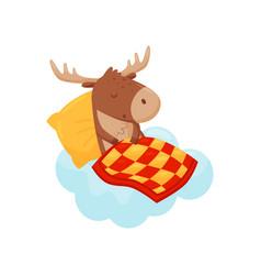 Cute baby deer sleeping on a cloud under blanket vector