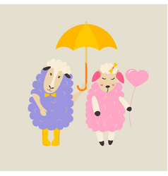 cute sheep in love with heart balloon vector image