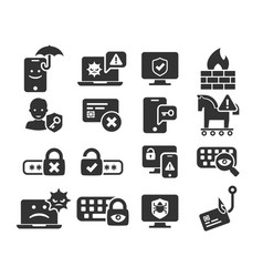 Cyber security and threat icons set in bw vector